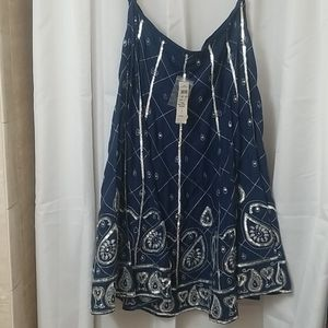 NWT Lillie Rubin Flared Skirt In Blue And Silver